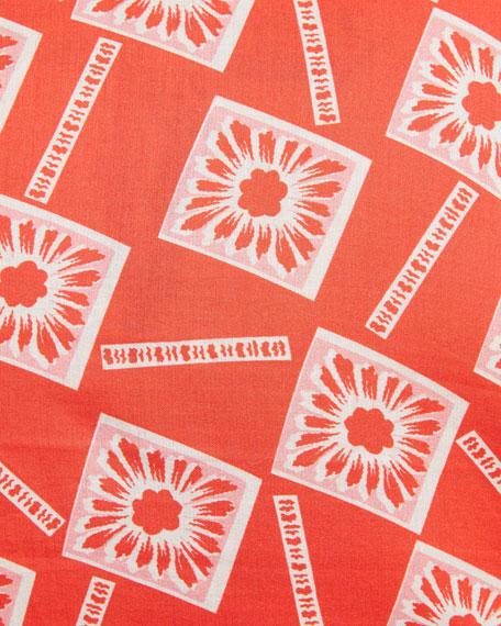 Floral-Print Long-Sleeve Shirt, Coral