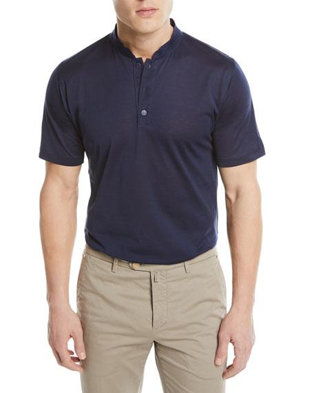 Kiton Mandarin-Collar Cotton T-Shirt, Blue