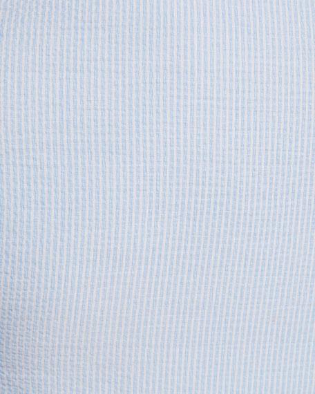 Mandarin-Collar Striped Seersucker Shirt