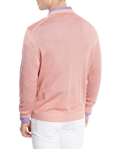 Washed Cashmere-Silk V-Neck Sweater, Pink