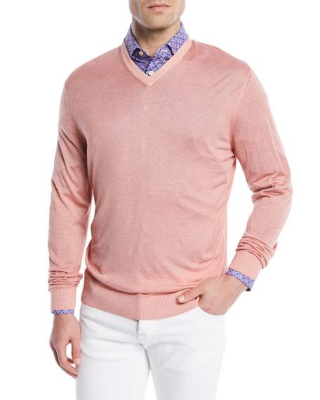 Washed Cashmere-Silk V-Neck Sweater, Pink