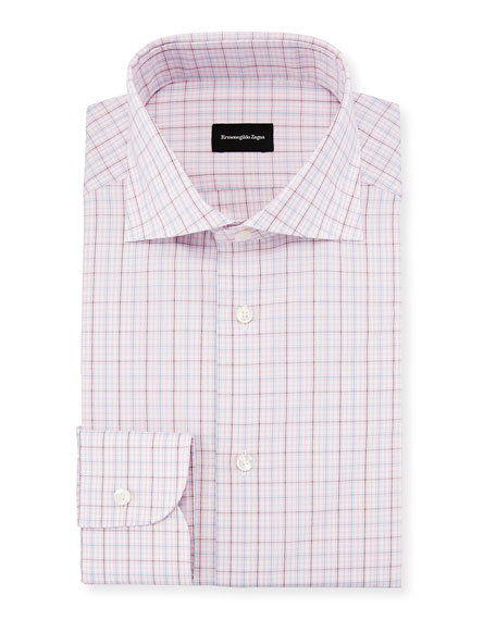 Ermenegildo Zegna Multi-Check Dress Shirt, Pink