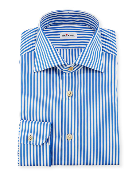 d786a8ed68dbcc Kiton Bengal-Stripe Dress Shirt, Blue/White