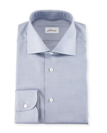 Brioni Micro Check Dress Shirt, Blue