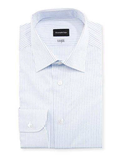 Cento Fili Three-Line Stripe Dress Shirt