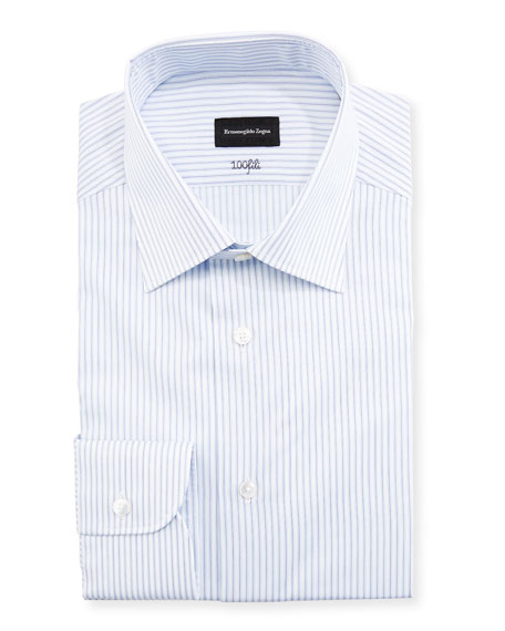 Ermenegildo Zegna Cento Fili Three-Line Stripe Dress Shirt