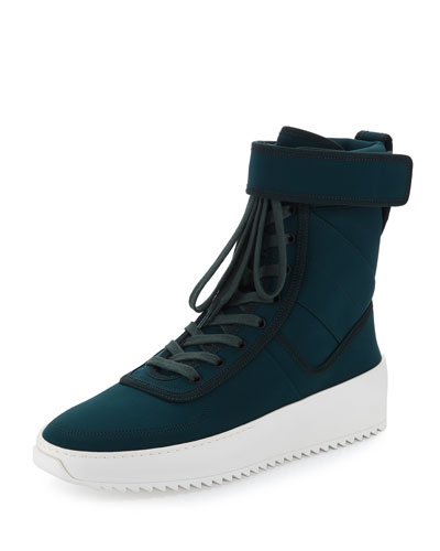 Leather High-Top Military Sneaker, Green