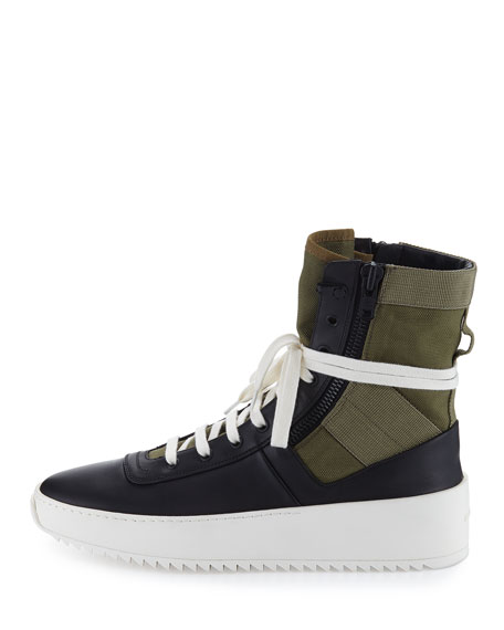 Men's Jungle High-Top Leather Sneakers with Canvas Insets