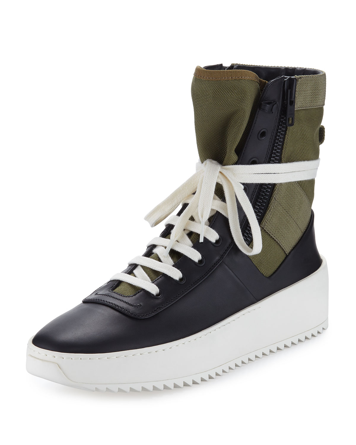 0fb91f3b1 Fear of God Men's Jungle High-Top Leather Sneakers with Canvas Insets