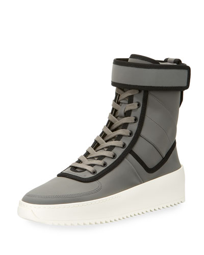 Men's Leather High-Top Military Sneakers