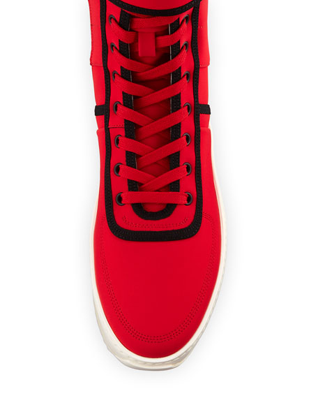 Men's Military Calf Leather Platform Sneakers, Red/Black