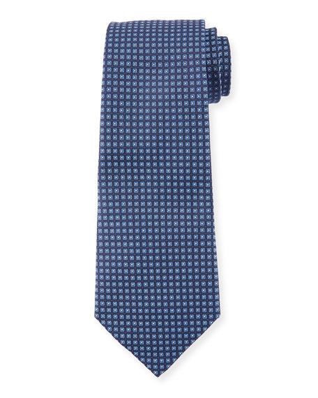 Neat Small Square Silk Tie, Navy