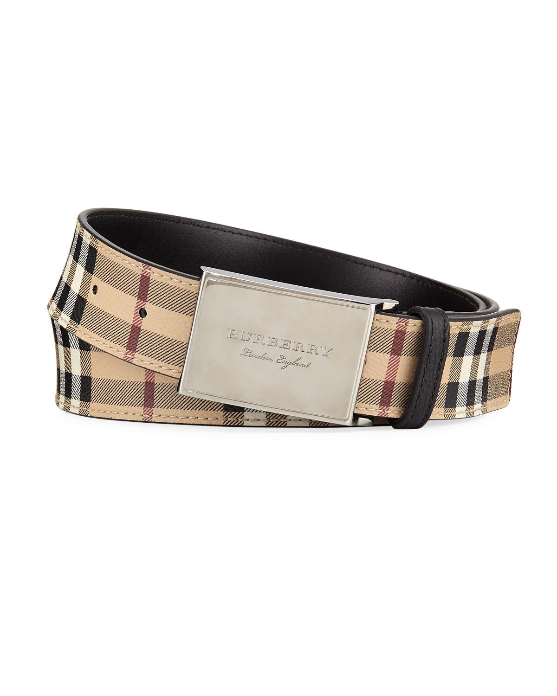 Burberry George New Haymarket Check Belt   Neiman Marcus 880a5b4e6a7