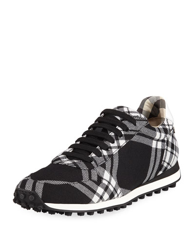 Travis Tartan Check Wool Sneaker, Black/White