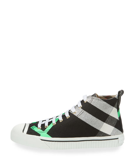 Men's Bright Check-Print High-Top Sneakers, Green Pattern