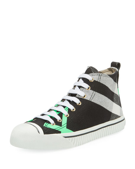 Burberry Bright Check-Print High-Top Sneaker, Green Pattern
