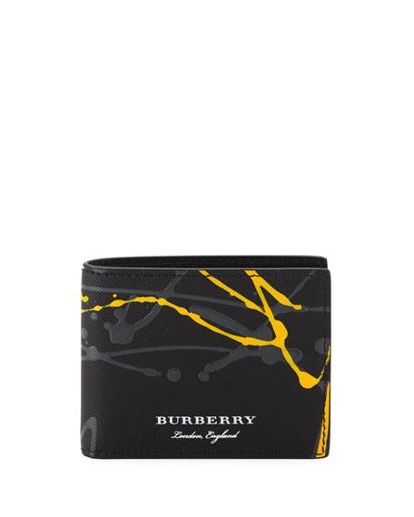 Burberry Hip Splatter-Print Bi-Fold Wallet, Black