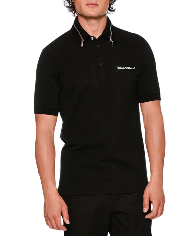 fee25532d Dolce & Gabbana Zip-Collar Pique Polo Shirt   Neiman Marcus