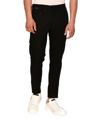 Solid Twill Cargo Pants