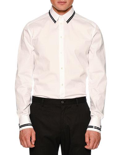 Sequin-Tipped Poplin Shirt