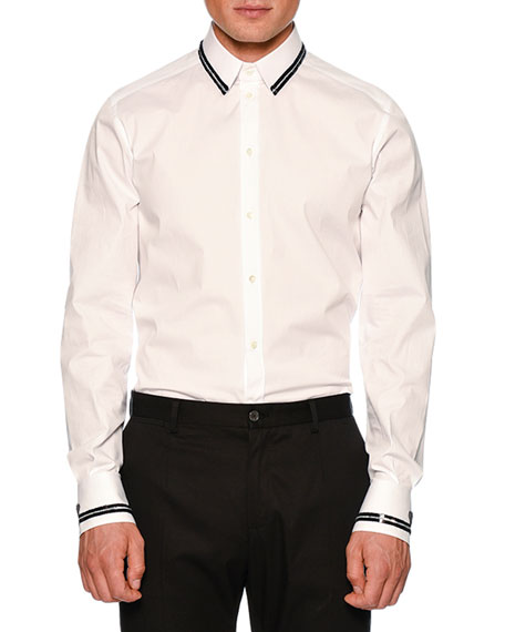 Dolce & Gabbana Sequin-Tipped Poplin Shirt