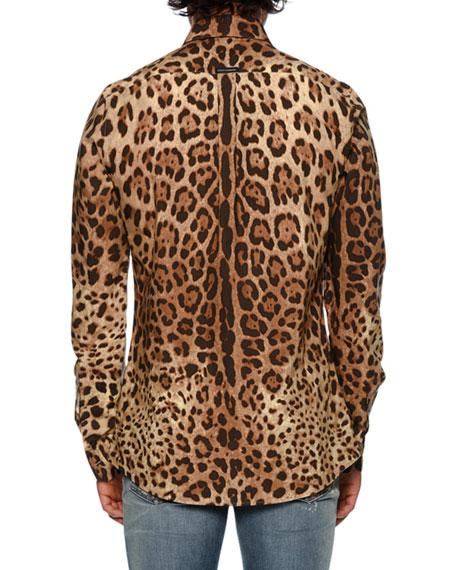 Leopard-Print Poplin Shirt