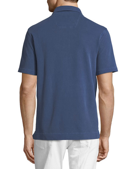 Piqué-Knit Polo Shirt, Medium Blue