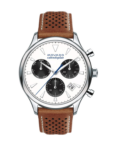 Movado 43mm Heritage Calendoplan Chronograph Watch with