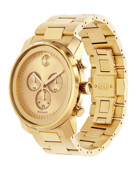 Movado Bold 44mm Gold-Plated Bold Chronograph Watch