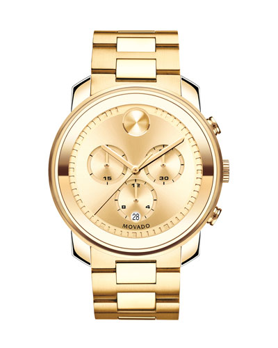 44mm Gold-Plated Bold Chronograph Watch