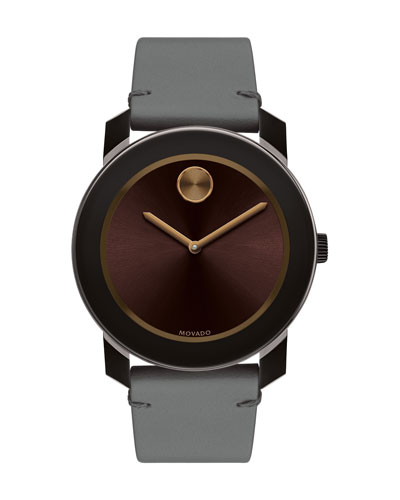 42mm Bold Watch with Leather Strap, Gray