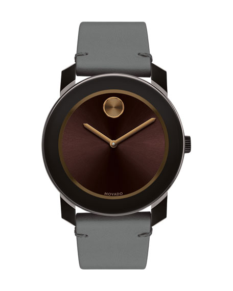 Movado Bold 42mm Bold Watch with Leather Strap,
