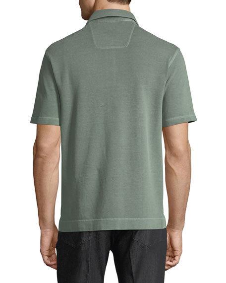 Piqué-Knit Polo Shirt, Green