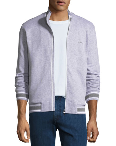 Stand-Collar Zip-Front Cotton Sweater
