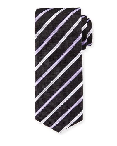 Lavender-Striped Silk Tie
