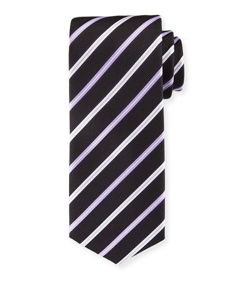 Lavender-Striped Silk Tie