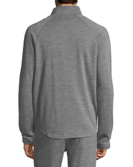 Heathered Wool Zip-Front Sweater