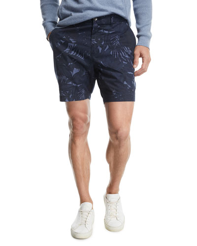 Tropical Print Cotton-Stretch Shorts