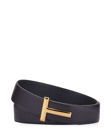TOM FORD T-Buckle Leather Belt