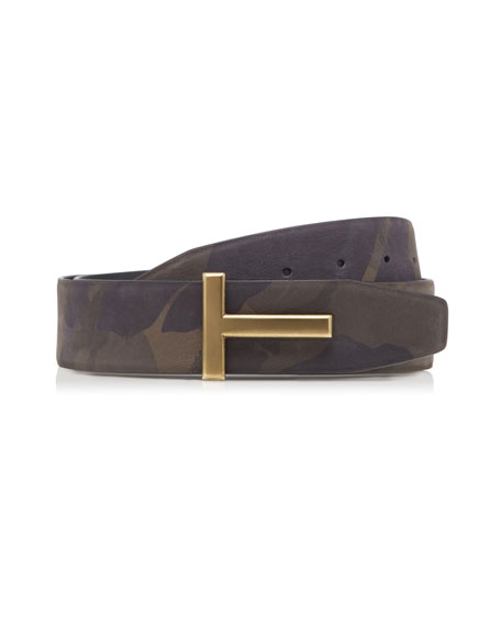 TOM FORD Camouflage Nubuck Leather Belt