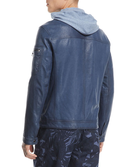 Garment-Washed Cotton Racer Jacket