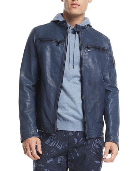 Michael Kors Garment-Washed Cotton Racer Jacket