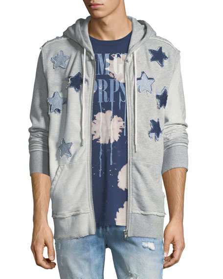 Star Patch Zip-Up Hoodie, Gray