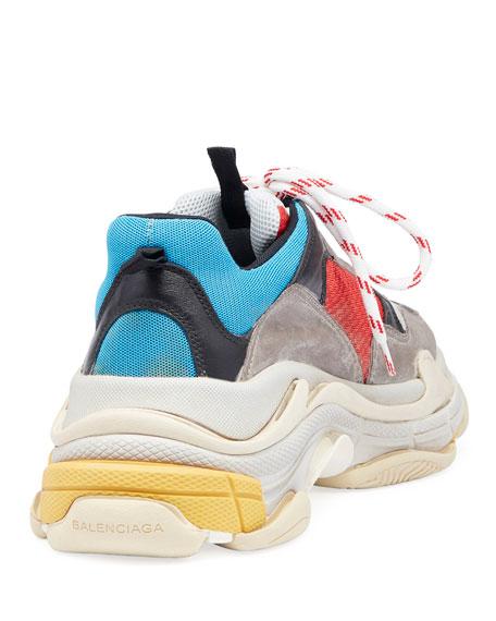 Triple S Mesh & Leather Sneaker, Blue