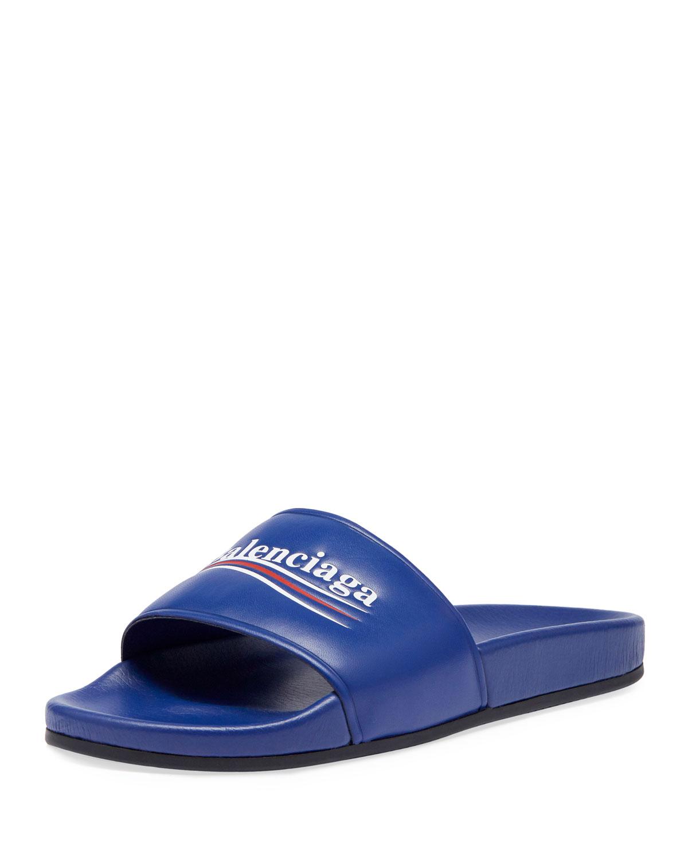 7f04b965f1ce Balenciaga Campaign Logo Pool Slide Sandal