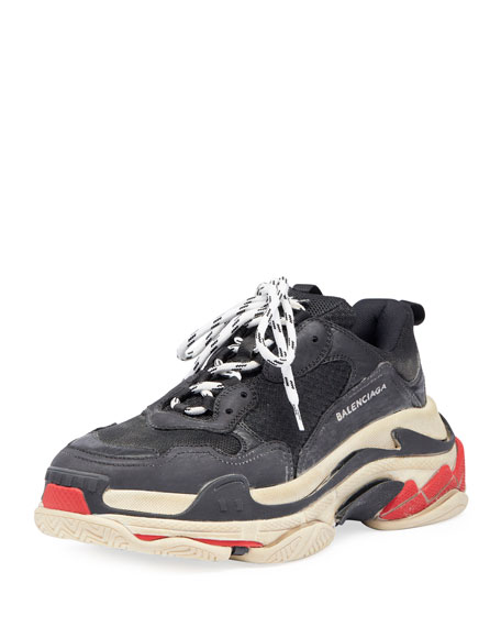 Balenciaga Men's Triple S Mesh & Leather Trainer