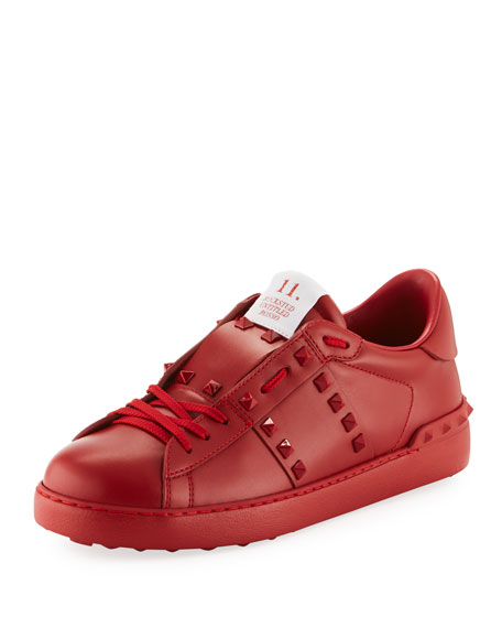 VALENTINO Rockstud Untitled Men'S Leather Low-Top Sneakers, Red