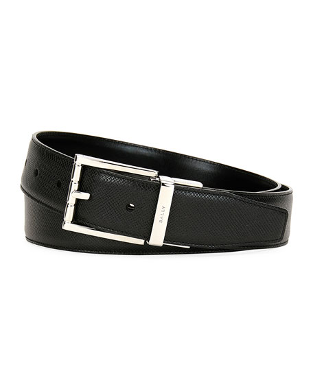 Astor Reversible Leather Belt, Black