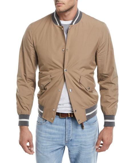Brunello Cucinelli Contrast-Trim Cotton Bomber Jacket