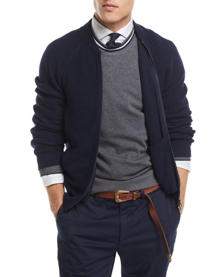 Brunello Cucinelli Ribbed Knit Full-Zip Cardigan